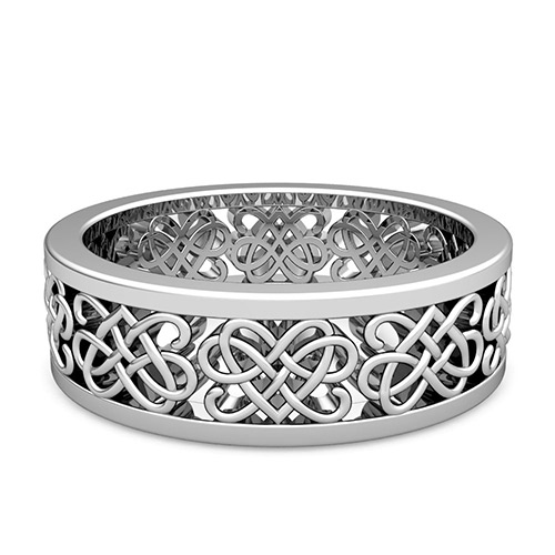 Celtic heart knot wedding band in platinum comfort fit wedding ring