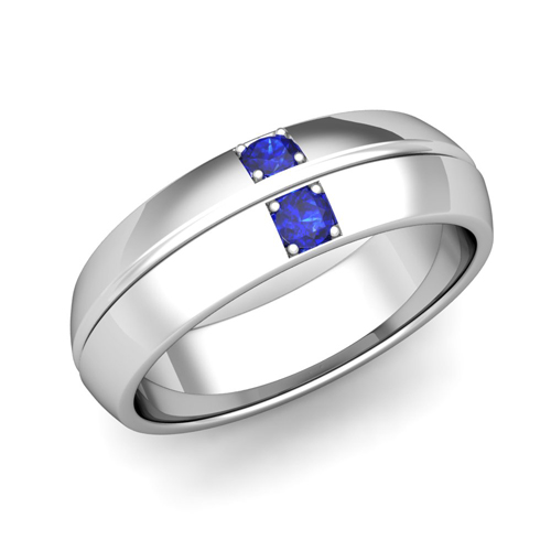 Mens Sapphire Wedding Ring Comfort Fit Wedding Band in 18k Gold
