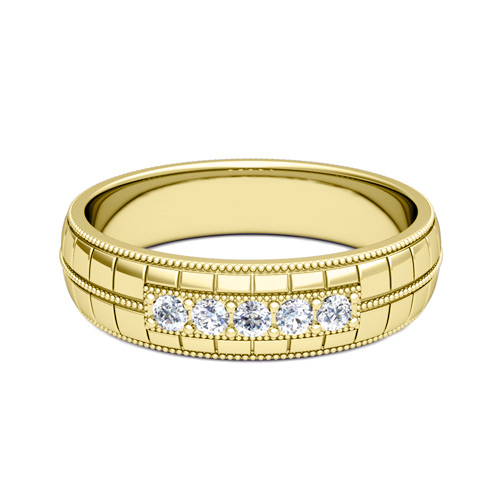 custom 5 stone wedding band ring for men with gemstones and diamonds