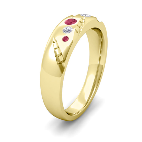Mens Flush Set Diamond And Ruby Wedding Ring In 14k Gold My Love