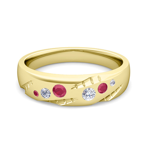Mens Flush Set Diamond And Ruby Wedding Ring In 14k Gold