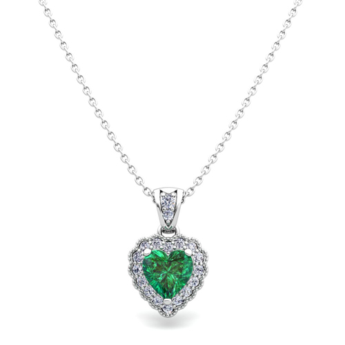 Milgrain diamond and emerald heart necklace in 14k gold pendant order now ships on monday 319order now ships in 5 business days milgrain diamond and emerald heart necklace in 14k aloadofball Images