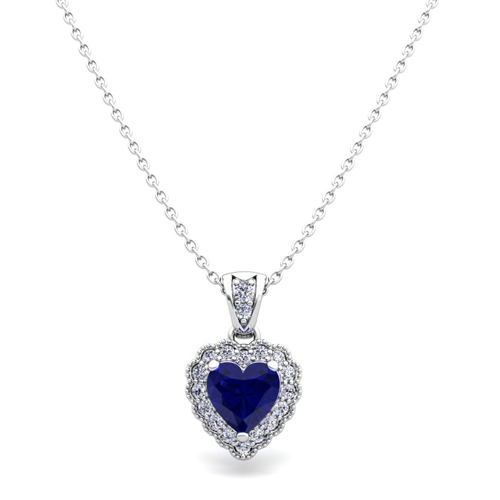 Milgrain diamond and sapphire heart necklace in 18k gold pendant order now ships on friday 323order now ships in 5 business days milgrain diamond and sapphire heart necklace aloadofball Image collections