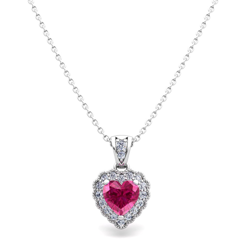 milgrain diamond and pink sapphire heart necklace 18k gold
