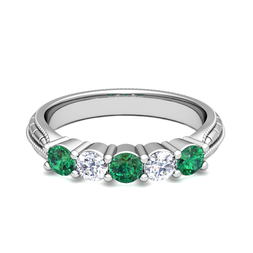 order now ships on tuesday 815order now ships in 6 business days milgrain emerald and diamond wedding