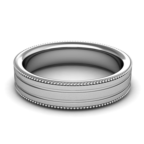Milgrain Wedding Ring Band For Men In Platinum Satin Finish 5mm