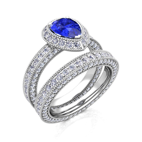 Pear Ceylon Sapphire Diamond Bridal Engagement Ring 18k Gold 8x6mm