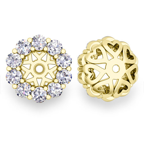 Ceylon Sapphire Studs And Halo Diamond Earring Jackets 14k Gold 5mm