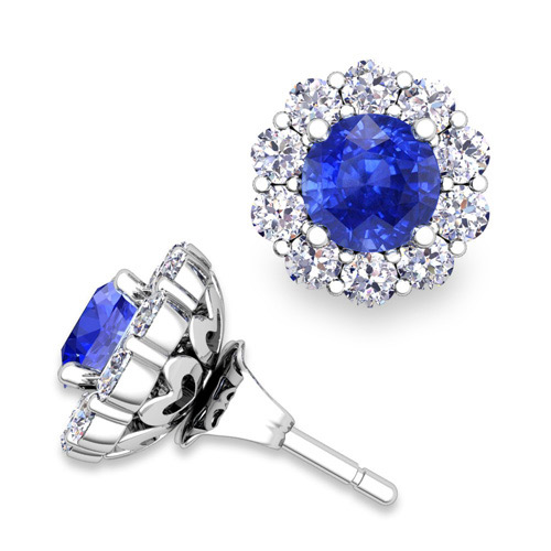 Ceylon Sapphire Studs And Halo Diamond Earring Jackets 14k