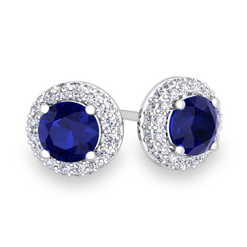 Pave Diamond and Sapphire Earrings in 14k Gold Studs