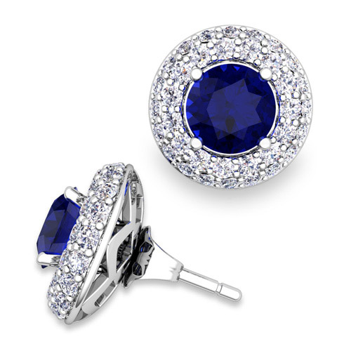 Pave diamond earring jackets and sapphire studs in 14k gold 6mm