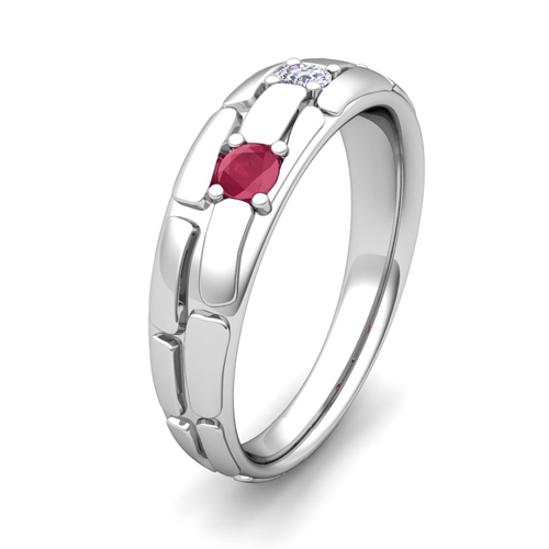 Mens 3 Stone Diamond Ruby Wedding Band 14k Gold My Love