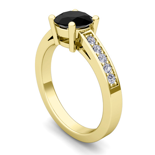 Solitaire Black Diamond Engagement Ring Bridal Set in 14k Gold 5mm