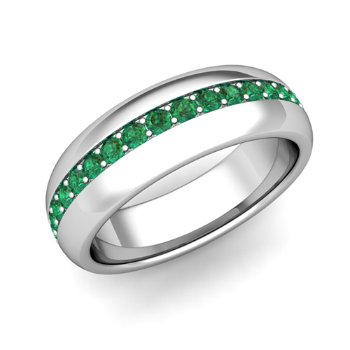 order now ships on tuesday 613order now ships in 5 business days pave set comfort fit emerald wedding band - Emerald Wedding Ring