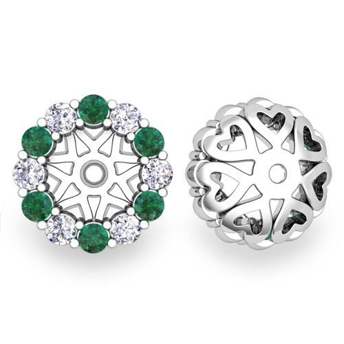 Halo Diamond And Emerald Earring Jackets In 18k Gold 6mm