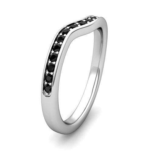 curved black wedding anniversary ring in
