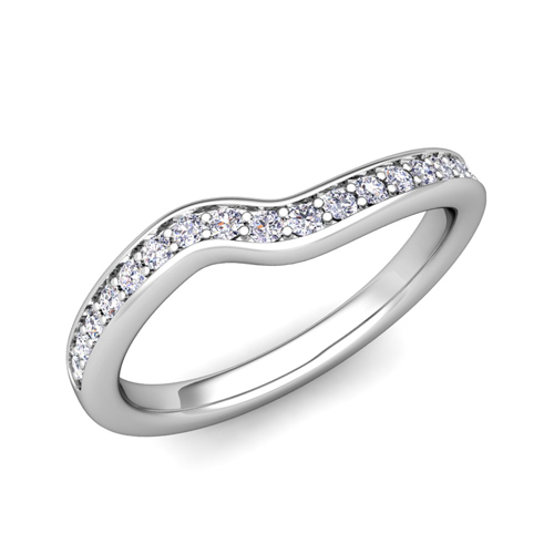 Petite Curved Diamond Wedding Anniversary Ring In 18k Gold