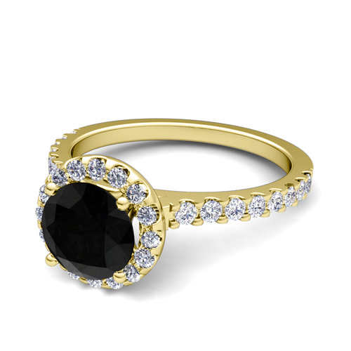 Pave Black Diamond Halo Engagement Ring 14k Gold 5mm Gemstone