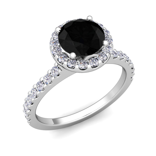 Pave Black Diamond Halo Engagement Ring Platinum 5mm Gemstone