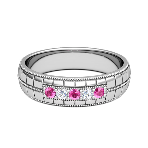 Pink Sapphire And Diamond Mens Wedding Band In Platinum 5 Stone Ring