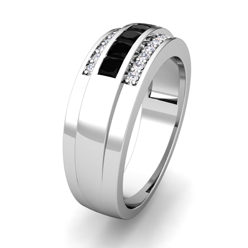 Order Now Ships On Tuesday 12 19order In 6 Business Days Princess Cut Black And White Diamond Mens Wedding Band