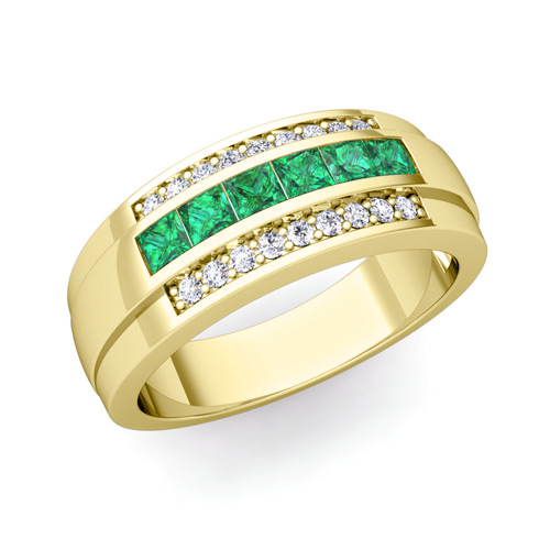 Gold emerald wedding bands