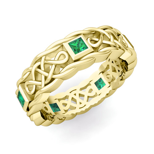 Princess cut emerald ring in 14k gold celtic knot wedding band
