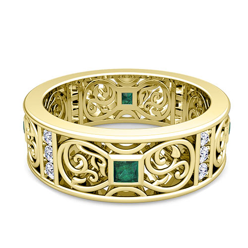 Princess Cut Celtic Emerald Wedding Band Ring for Men in 14k Gold