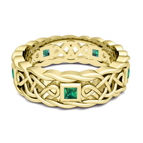 Mens Emerald Wedding Ring in 14k Gold Celtic Wedding Band My Love