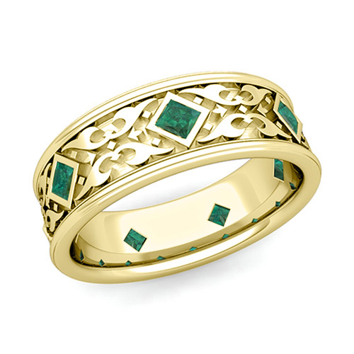 Celtic Wedding Band for Men in 14k Gold Princess Cut Emerald Ring