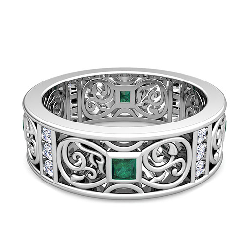 princess cut celtic emerald wedding band ring for in