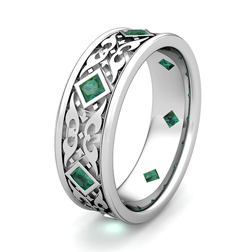This stunning Celtic wedding ring for men features princess cut emeralds bezel set gorgeously on the platinum carved Celtic knot band.