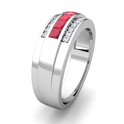 Princess Cut Ruby Diamond Mens Wedding Band Ring In Platinum