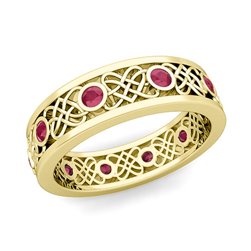 Celtic Heart Knot Wedding Band in 14k Gold Bezel Set Ruby Ring