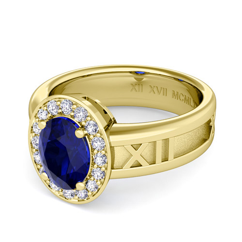 Build My Love Roman Numeral Engagement Ring With Diamond And Oval Gem