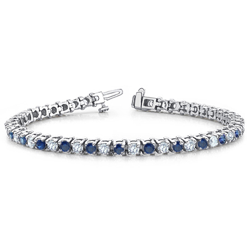 Sapphire And Diamond Bracelet In Platinum Tennis Bracelet