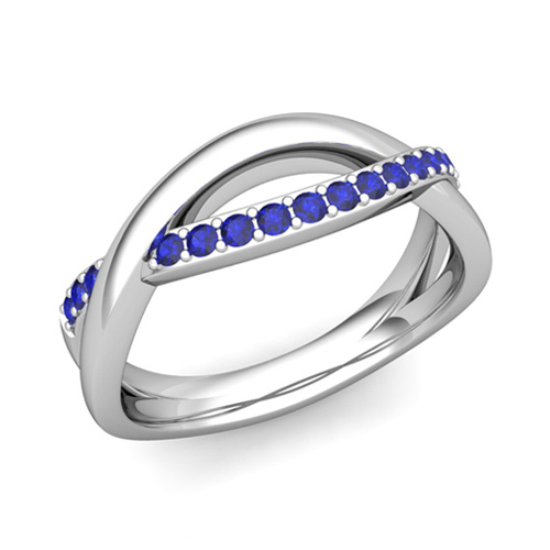 sapphire wedding anniversary ring in platinum infinity wedding band 6mm - Sapphire Wedding Ring
