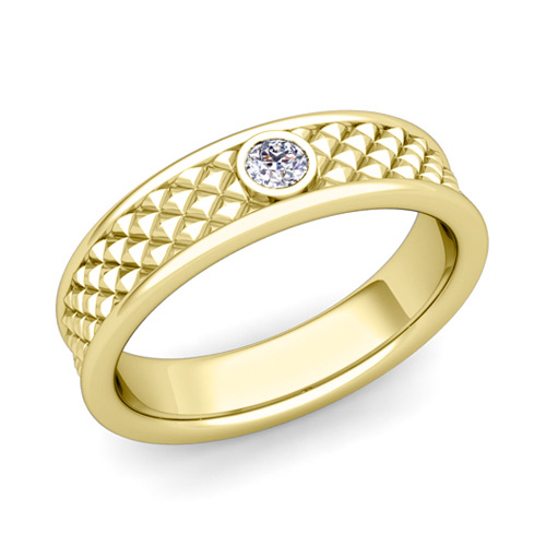 solitaire diamond anniversary ring in 18k gold diamond cut wedding band 55mm - Wedding Anniversary Rings