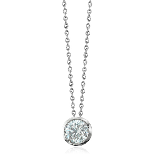 Solitaire diamond necklace all collections of necklace diamond solitaire pendant bezel set 14k white gold chain 0 50 ct diamond necklace aloadofball Image collections