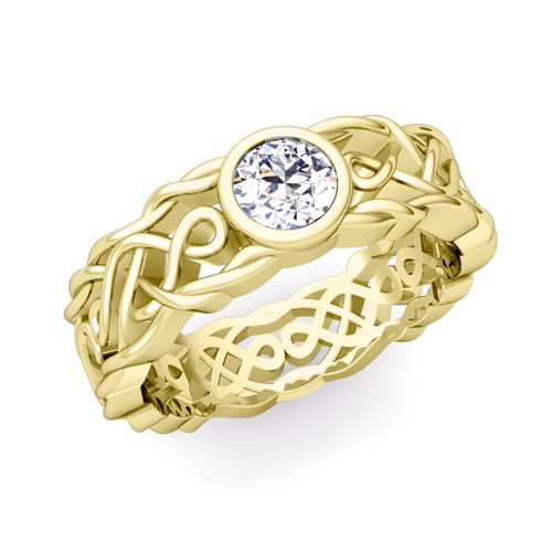 Solitaire Diamond Ring In 14k Gold Mens Celtic Wedding Band