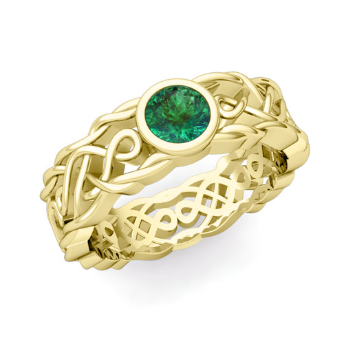 Solitaire Emerald Ring in 14k Gold Mens Celtic Wedding Band