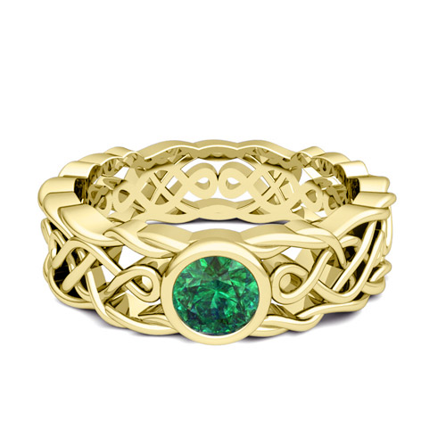 Solitaire Emerald Ring in 18k Gold Mens Celtic Wedding Band