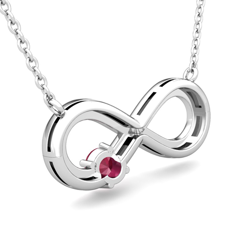 infinity necklace white gold. solitaire infinity diamond and ruby necklace white gold n