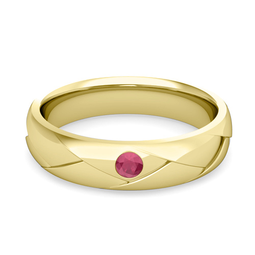 Mens Wedding Ring In 14k Gold Shiny Ruby Wedding Band