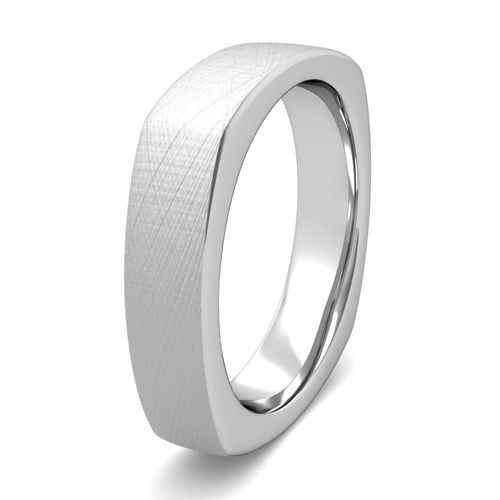 square comfort fit wedding ring 14k gold brushed band 5mm
