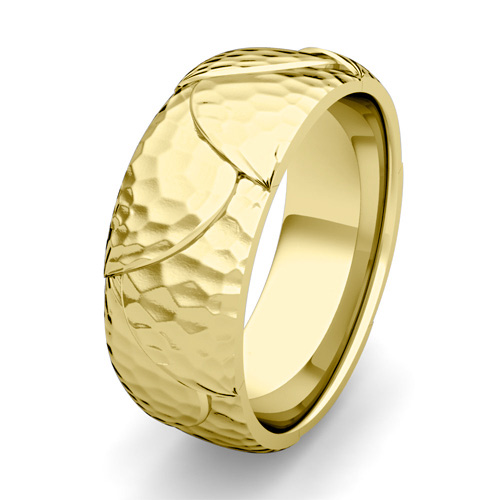 Hammered Comfort Fit Mens Wedding Band Ring In 14k Gold 8mm