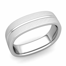 Square Wedding Ring In 14k Gold Brushed Finish Comfort Fit Band 6mm