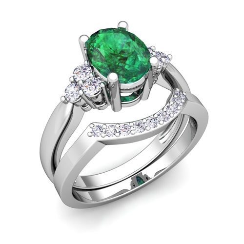 3 emerald engagement ring bridal set in 14k
