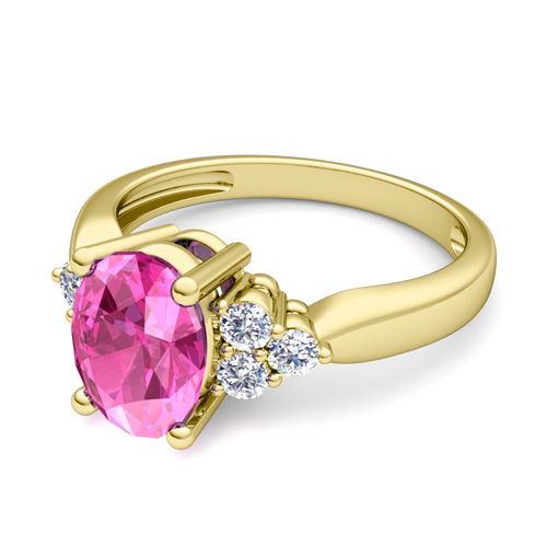 3 Stone Diamond and Pink Sapphire Engagement Ring in 14k Gold 8x6mm