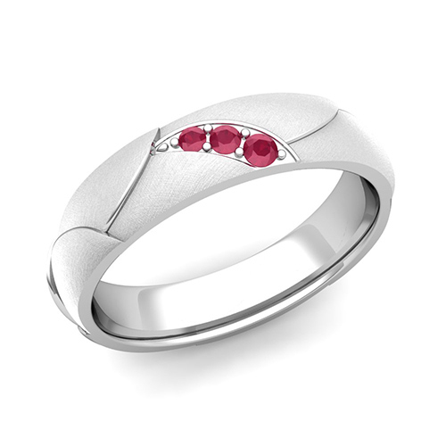 3 Stone Ruby Anniversary Ring in 18k Gold Brushed Wedding Band